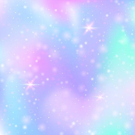 Fondo de unicornio con malla de arco iris. Banner de universo multicolor en colores princesa. Telón de fondo degradado de fantasía con holograma. Fondo de unicornio holográfico con destellos mágicos, estrellas y desenfoques.