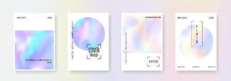 Fluid poster set. Abstract backgrounds. Stylish fluid poster with gradient mesh. 90s, 80s retro style. Pearlescent graphic template for book, annual, mobile interface, web app. 矢量图像