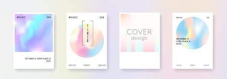 Minimalist poster set. Abstract backgrounds in various shapes. Bright minimalist poster with gradient mesh. 90s, 80s retro style. Iridescent graphic template for book, annual, mobile interface, web app. 矢量图像