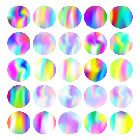 Holographic abstract round backgrounds set. Liquid holographic backdrop with gradient mesh. 90s, 80s retro style. Pearlescent graphic template for banner, flyer, cover, mobile interface, web app.