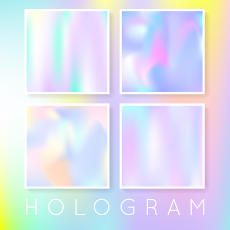 Gradient set with holographic mesh. Colorful abstract gradient set backdrops. 90s, 80s retro style. Iridescent graphic template for brochure, flyer, poster, wallpaper, mobile screen. 矢量图像