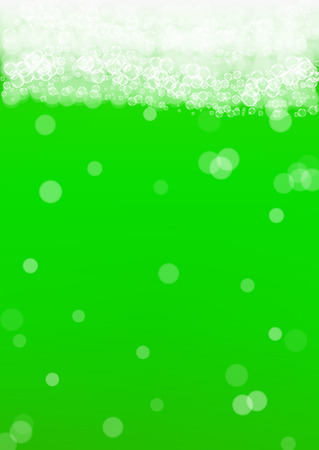 Green beer background for Saint Patricks Day with bubble foam. Cool beverage for restaurant menu design, banners and flyers. Realistic backdrop with green beer for St. Patrick. Illustration