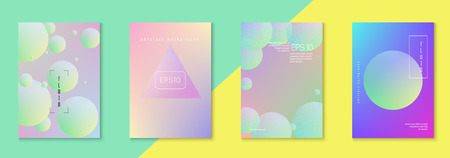 Cover fluid set with round shape. Gradient circles on holographic background. Trendy hipster template for placard, presentation, banner, flyer, brochure. Minimal cover fluid in vibrant neon colors. 向量圖像