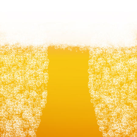 Beer background with realistic bubbles. Cool beverage for restaurant menu design, banners and flyers. Yellow square beer background with white frothy foam. Cold pint of golden lager or ale. Illustration