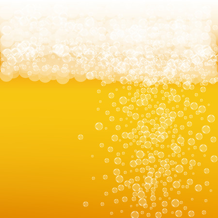 Beer background with realistic bubbles. Cool beverage for restaurant menu design, banners and flyers. Yellow square beer background with white frothy foam. Cold glass of ale for brewery design. Foto de archivo - 96375770