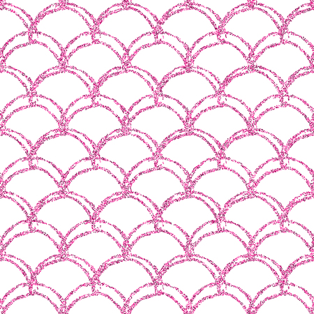 Glitter mermaid tail seamless pattern. Fish scale texture. Tillable background for girl fabric, textile design, wrapping paper, swimwear or wallpaper. Pink glitter mermaid background with fish skin. Illustration