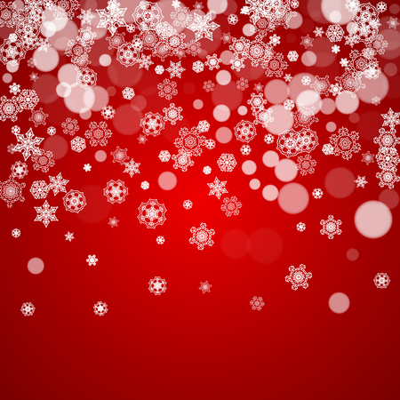 Christmas frame with falling snow on red background. Santa Claus colors. Merry Christmas frame with white frosty snowflakes for banners, gift cards, party invitations and special business offers.