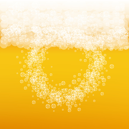 Beer background with realistic bubbles. Cool liquid drink for pub and bar menu design, banners and flyers. Yellow square beer background with white frothy foam. Cold glass of ale for brewery design. Illustration