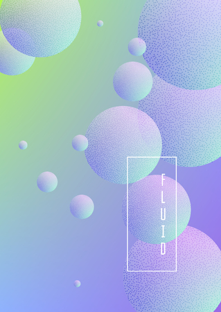 Holographic cover with fluid and halftone dots texture. Geometric shapes on gradient background. Modern template for banner, annual report, brochure. Minimal holographic cover in neon colors.