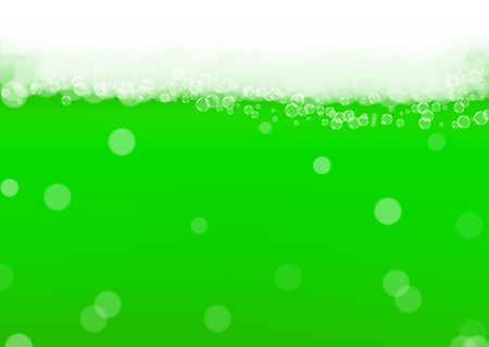 Green beer background for Saint Patricks Day with bubble foam. Cool beverage for restaurant menu design, banners and flyers. Realistic backdrop with green beer for St. Patrick. Cold lager pint