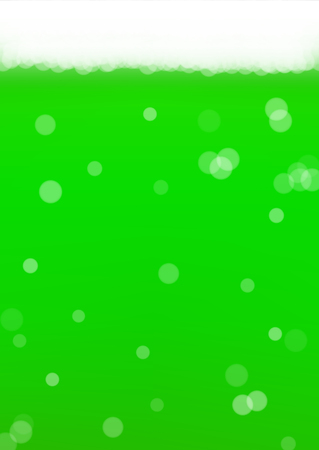 Green beer background for Saint Patricks Day with bubble foam. Cool liquid drink for pub and bar menu design, banners and flyers.  Realistic backdrop with green beer for St. Patrick. Cold ale glass Illustration