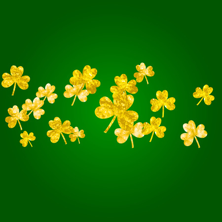 Clover background for Saint Patricks Day. Lucky trefoil confetti. Glitter frame of shamrock leaves.