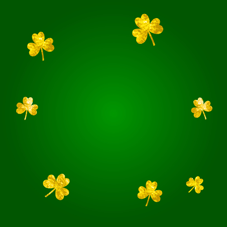 Saint patricks day background with shamrock. Lucky trefoil confetti. Glitter frame of clover leaves.