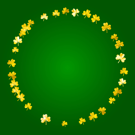 Saint patricks day background with shamrock. Lucky trefoil confetti. Glitter frame of clover leaves. Template for gift coupons, vouchers, ads, events. Celtic saint patricks day backdrop.