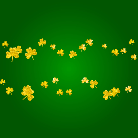 St patricks day background with shamrock. Lucky trefoil confetti. Glitter frame of clover leaves.