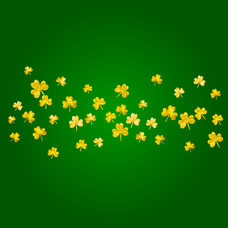 Saint patricks day background with shamrock. Lucky trefoil confetti. Glitter frame of clover leaves. Template for flyer, special business offer, promo. Holiday saint patricks day backdrop.