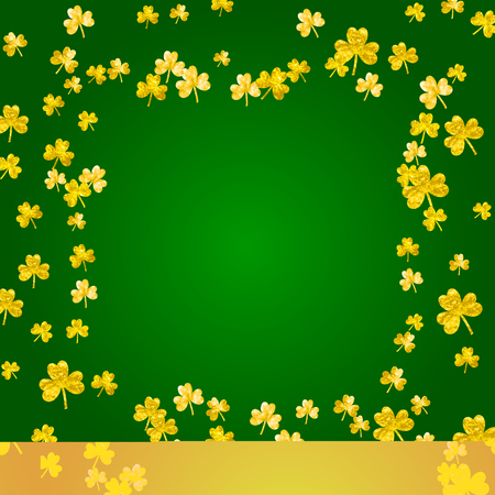 Glitter frame of shamrock leaves image illustration Illustration
