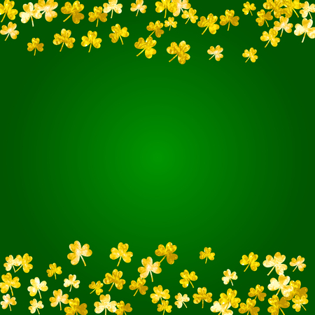 Saint Patrick's day background with golden clover leaves border.