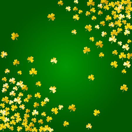 Clover background for Saint Patricks Day. Lucky trefoil confetti. Glitter frame of shamrock leaves. Vector illustration.