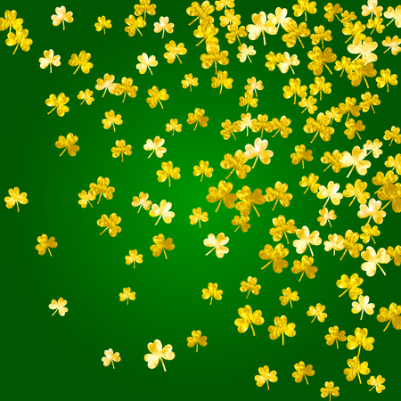 St patricks day background with shamrock. Lucky trefoil confetti. Glitter frame of clover leaves. Template for party invite, retail offer and ad. Celtic st patricks day backdrop. Illustration