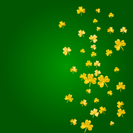 Saint patricks day background with shamrock. Lucky trefoil confetti. Glitter frame of clover leaves. Template for gift coupons, vouchers, ads, events. Dublin saint patricks day backdrop. Illustration