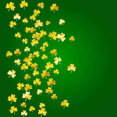 Clover background for Saint Patricks Day. Lucky trefoil confetti. Glitter frame of shamrock leaves. Template for flyer, special business offer, promo. Festal clover background.