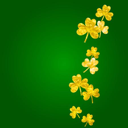 Shamrock background for Saint Patricks Day. Lucky trefoil confetti. Glitter frame of clover leaves.  Template for voucher, special business ad, banner. Greeting shamrock background. Illustration