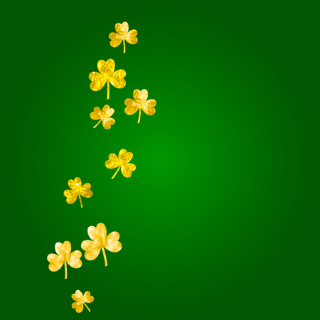 St patricks day background with shamrock. Lucky trefoil confetti. Glitter frame of clover leaves. Template for special business offer, banner, flyer. Decorative st patricks day backdrop.