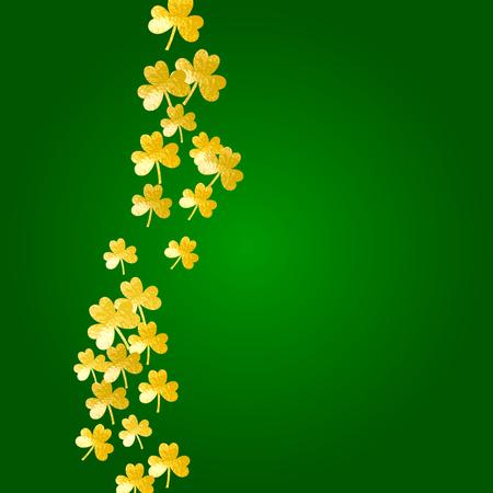 Clover background for Saint Patricks Day. Lucky trefoil confetti. Glitter frame of shamrock leaves. Template for poster, gift certificate, banner. Holiday clover background.