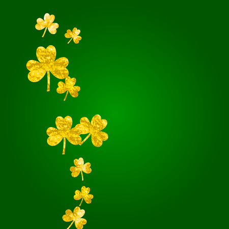 Shamrock background for Saint Patricks Day. Lucky trefoil confetti. Glitter frame of clover leaves.  Template for voucher, special business ad, banner. Celtic shamrock background.