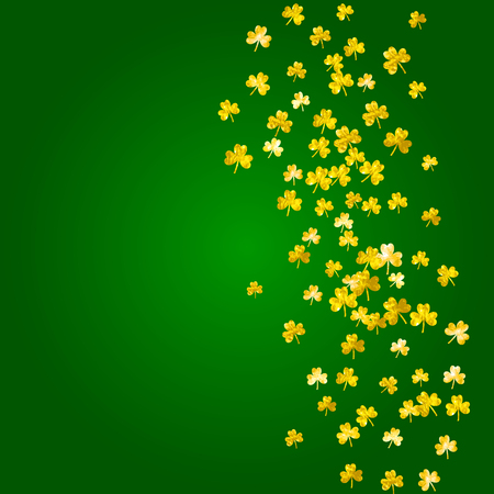 Shamrock background for Saint Patricks Day. Lucky trefoil confetti. Glitter frame of clover leaves. Template for gift coupons, vouchers, ads, events. Happy shamrock background. Illustration