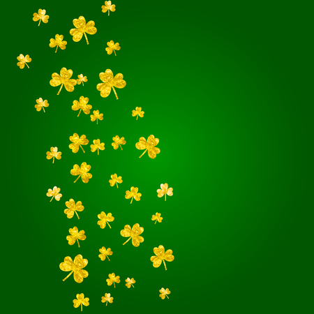 Saint patricks day background with shamrock. Lucky trefoil confetti. Glitter frame of clover leaves. Template for voucher, special business ad, banner. Celtic saint patricks day backdrop.