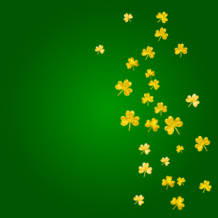 Shamrock background for Saint Patricks Day. Lucky trefoil confetti. Glitter frame of clover leaves.   Irish shamrock background.
