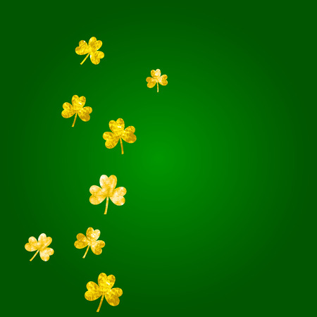 Saint Patricks day background with shamrock. Lucky trefoil confetti. Glitter frame of clover leaves.