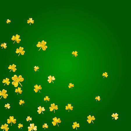 Clover background for Saint Patricks Day. Lucky trefoil confetti. Glitter frame of shamrock leaves.  Festive clover background.