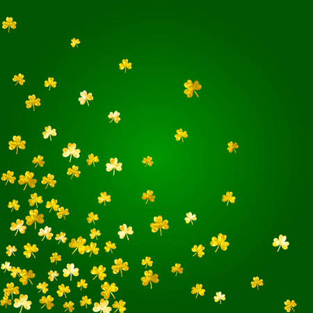 Shamrock background for Saint Patricks Day. Lucky trefoil confetti. Glitter frame of clover leaves.  Template for poster, gift certificate, banner. Happy shamrock background.