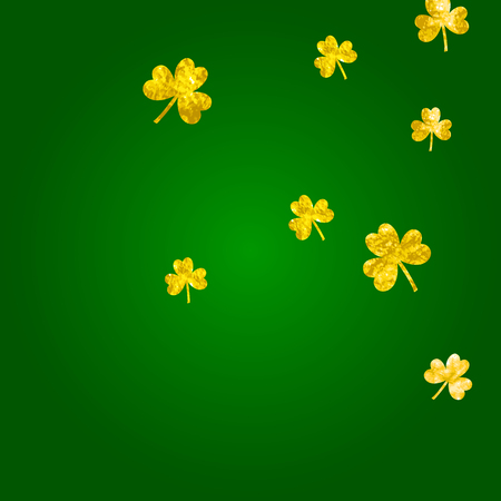 St patricks day background with shamrock. Lucky trefoil confetti. Glitter frame of clover leaves. Template for party invite, retail offer and ad. Holiday st patricks day backdrop.