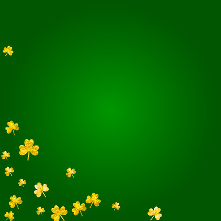 Clover background for Saint Patricks Day. Lucky trefoil confetti. Glitter frame of shamrock leaves. Template for gift coupons, vouchers, ads, events. Celtic clover background. Illustration