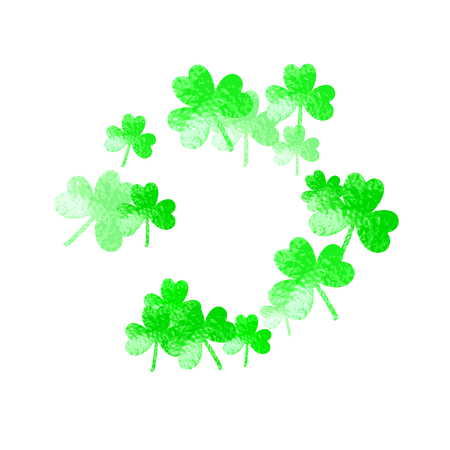 Clover background for Saint Patricks Day. Lucky trefoil confetti. Glitter frame of shamrock leaves. Template for gift coupons, vouchers, ads, events. Irish clover background. Illustration