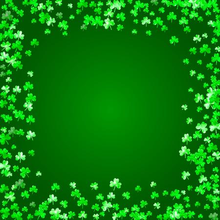 Shamrock background for Saint Patricks Day. Lucky trefoil confetti. Glitter frame of clover leaves. Template for gift coupons, vouchers, ads, events. Celtic shamrock background.