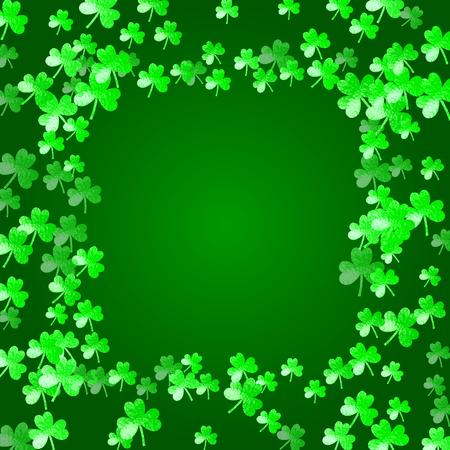 Shamrock background for Saint Patricks Day. Lucky trefoil confetti. Glitter frame of clover leaves.  Template for party invite, retail offer and ad. Dublin shamrock background.