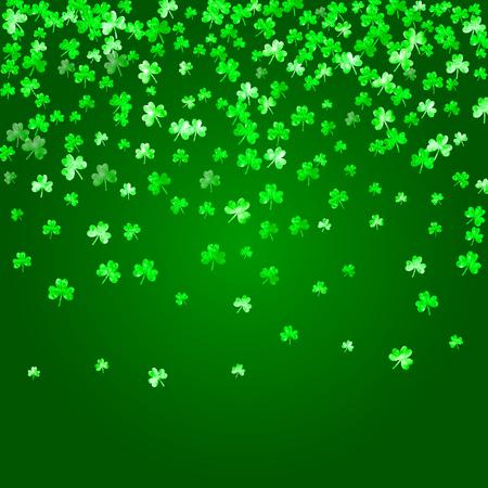 St patricks day background with shamrock. Lucky trefoil confetti. Glitter frame of clover leaves.