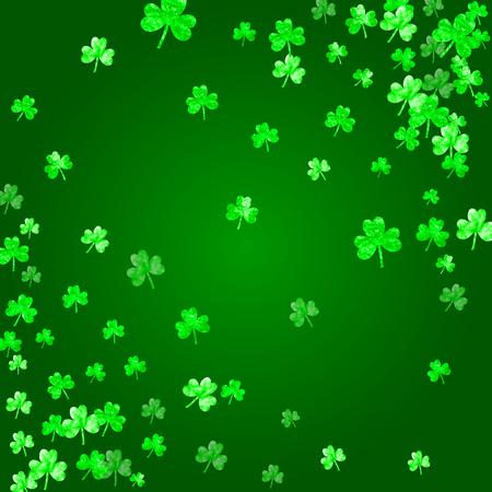 Clover background for Saint Patricks Day. Lucky trefoil confetti. Glitter frame of shamrock leaves.