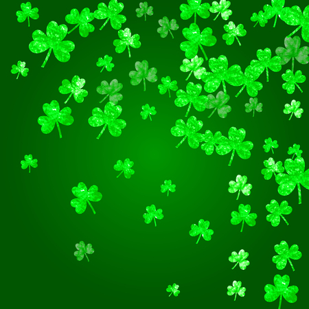 Saint Patricks day background with shamrock. Lucky trefoil confetti. Glitter frame of clover leaves. Vector illustration. Illustration