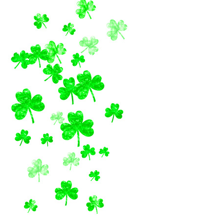 Clover background for Saint Patricks Day. Lucky trefoil confetti. Glitter frame of shamrock leaves. Template for flyer, special business offer, promo. Merry clover background.