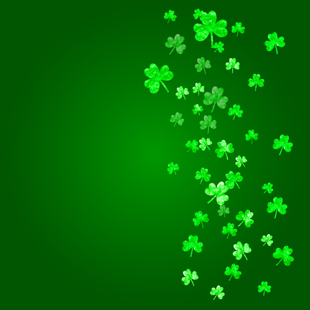 St patricks day background with shamrock. Lucky trefoil confetti. Glitter frame of clover leaves. Template for party invite, retail offer and ad. Decorative st patricks day backdrop.
