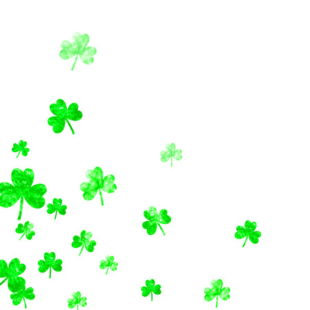 Saint patricks day background with shamrock. Lucky trefoil confetti. Glitter frame of clover leaves. Template for gift coupons, vouchers, ads, events. Happy saint patricks day backdrop.