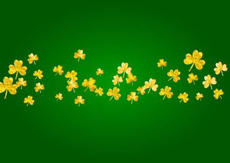 Shamrock background for Saint Patricks Day. Lucky trefoil confetti. Glitter frame of clover leaves. Template for flyer, special business offer, promo. Merry shamrock background.