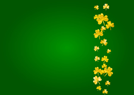 St patricks day background with shamrock. Lucky trefoil confetti. Glitter frame of clover leaves. Template for party invite, retail offer and ad. Greeting st patricks day backdrop