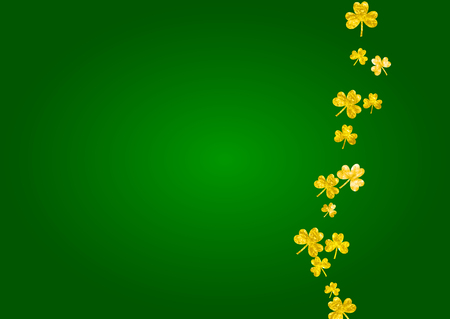 Clover background for Saint Patricks Day.  Lucky trefoil confetti. Glitter frame of shamrock leaves. Template for party invite, retail offer and ad. Greeting clover background.